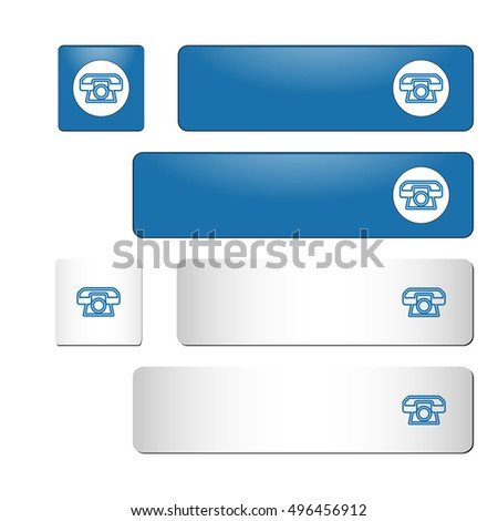 Set of contact us vector buttons. Color: blue. The shape is rectangle and square. Phone icon. For websites, mobile and desktop applications.
