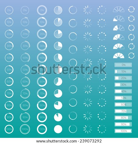 Set of contour progress bars with percentages - stock vector