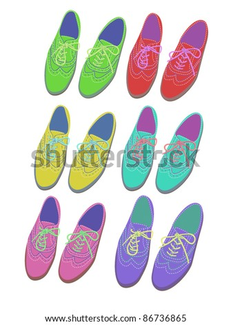 set of contrast brogue shoes - stock vector