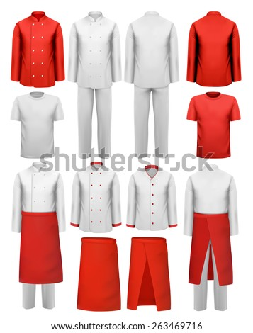 Set of cook clothing - aprons, uniforms. Vector. - stock vector