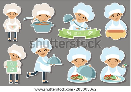 Set of cook flat icons - stock vector