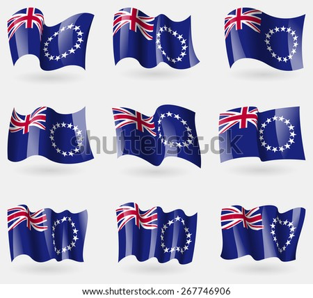 Set of Cook islands flags in the air. Vector illustration - stock vector