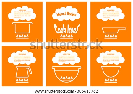 Set of cook template with pan, kettle, barbecue, pot. Vector illustration for menu, recipes, posters and banners - stock vector