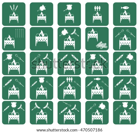 Set of cooking on brazier icons. Vector illustration
