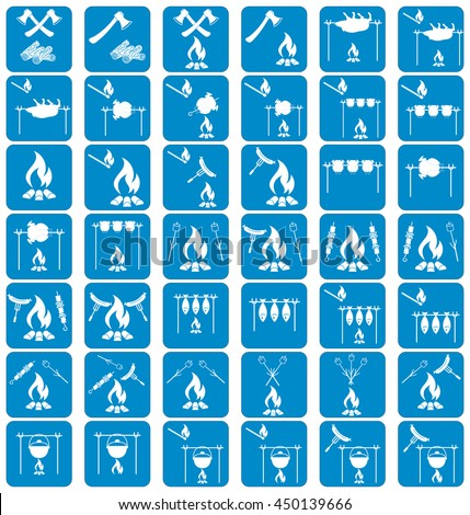 Set of cooking on campfire icons. Vector illustration