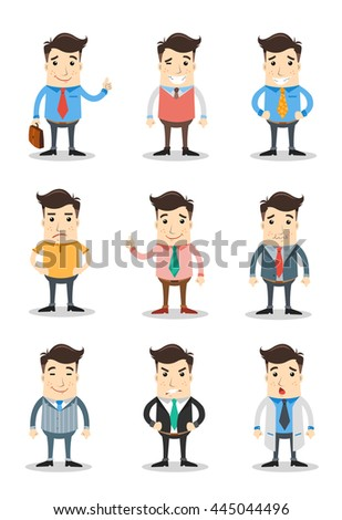 set of cool business characters