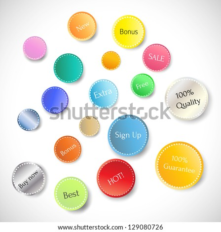 Set of cool buttons for your business website. Vector illustration.