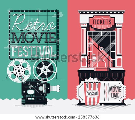 Set of cool detailed creative web vertical banners on retro movie cinema festival and film motion picture entrance admission tickets purchasing with beautiful projector, box office, popcorn and more - stock vector