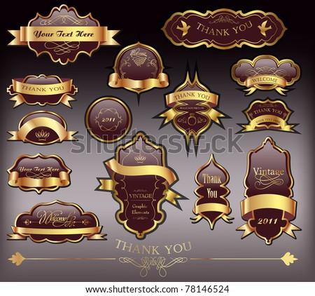 set of cool golden brown labels - stock vector
