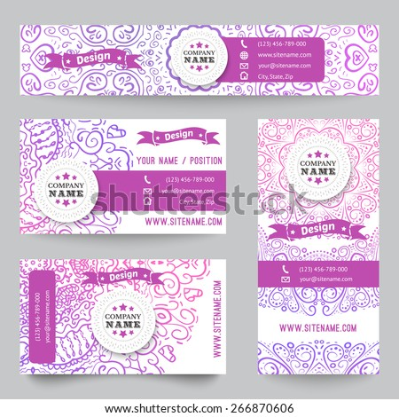Set of corporate identity templates with doodles tribal theme. Vector illustration for pretty design. Ethnic vintage patterns. Purple and white colors. Border, frame, icon elements. - stock vector