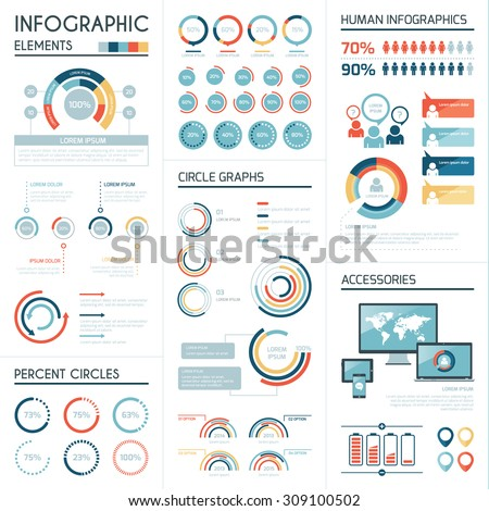 Set of corporate infographics vector elements in flat colors - stock vector