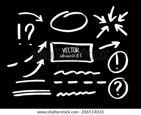 Set of correction and highlight elements. Circles, arrows, lines etc. Hand drawn with marker pen. Vector illustration. - stock vector