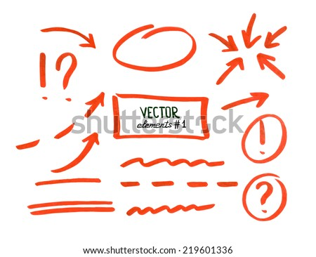 Set of correction and highlight elements, part 1. Circles, arrows, lines etc. Hand drawn with marker pen. Vector illustration. - stock vector