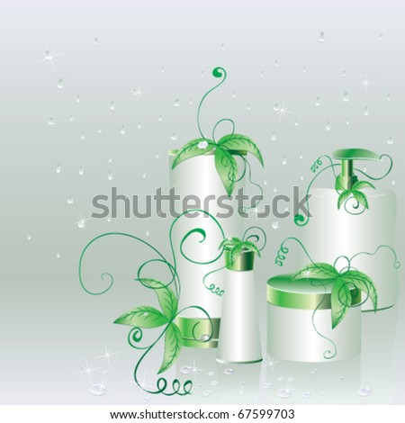 Set of cosmetic packs with green leaves on a wet glass with water drops - stock vector