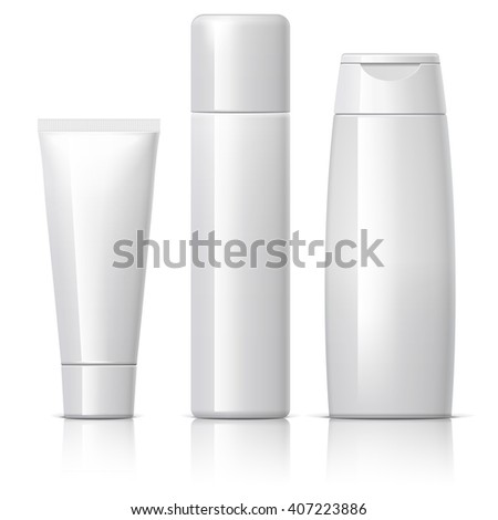 set of cosmetic products on a white background. Cosmetic package collection for cream, soups, foams, shampoo, Spray, Deodorant. vector illustration. - stock vector