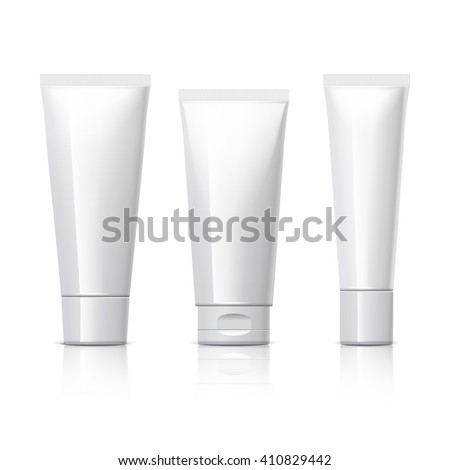 set of cosmetic products on a white background. Cosmetic package collection for cream, soups, foams, shampoo. Object, shadow, and reflection on separate layers. vector illustration. - stock vector