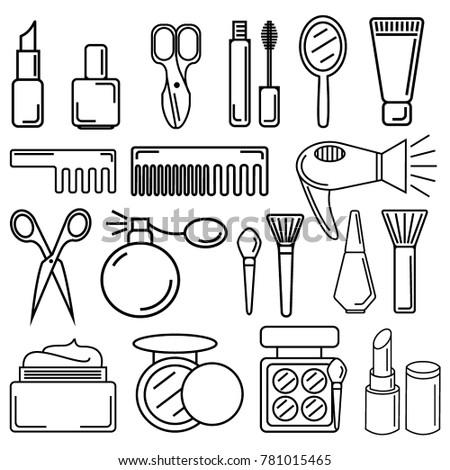 Set Cosmetics Beauty Elements Linear Vector Stock Vector 781015465 - Shutterstock