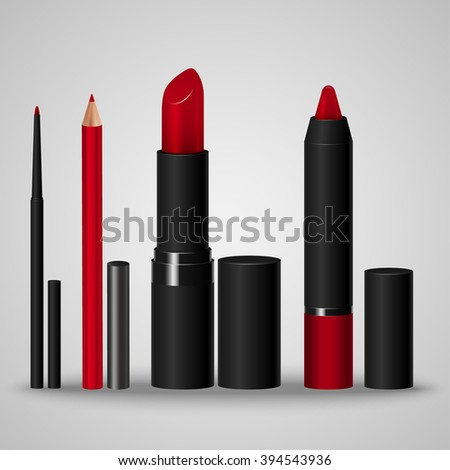 Set of cosmetics for make-up lips. Lip liner, lip pencil, lipstick, crayon. Vector illustration - stock vector