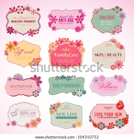 Set of cosmetics labels and stickers - stock vector