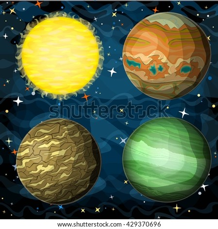 Set of cosmic planets in outer space. Vector cartoon style illustration. - stock vector