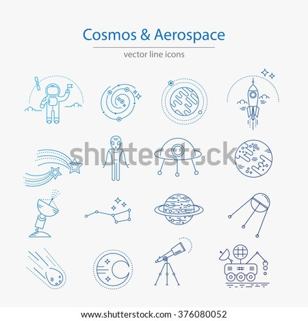 Set of cosmos and aerospace icons made in modern line style vector - stock vector