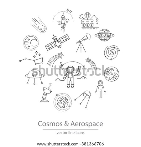 Set of cosmos and aerospace icons made in modern line style vector