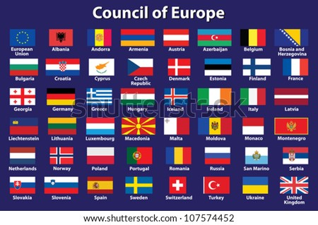 set of Council of Europe flags vector illustration - stock vector