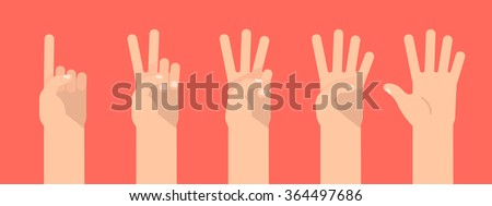 Set of counting hand sign from one to five. Communication gestures concept. Vector illustration isolated on colorful background flat design. - stock vector