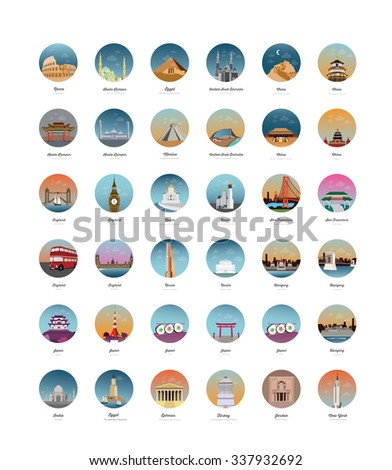 Set of Country, Capital Cities buildings - stock vector