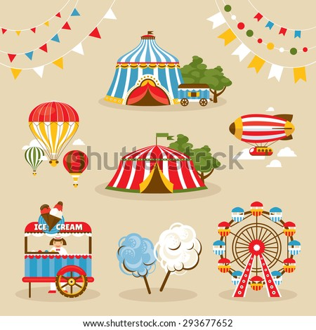 Set of country fair objects vector illustration - stock vector