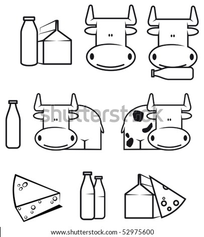 Set of cow and dairy food for design or logo template. Jpeg version also available in gallery - stock vector