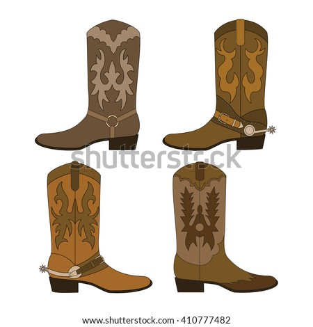 Set of cowboy boots. Color vector illustration. - stock vector