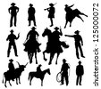 Set of cowboy silhouettes - stock photo
