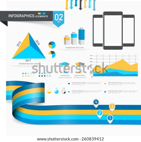 Set of creative business infographics elements including statistical bars, graphs and pie charts. - stock vector