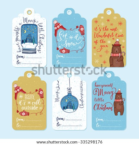 Set of 6 creative Christmas gift tags. Christmas ornaments, knitted winter hat and mittens, funny winter bear in knitted hat and scarf with peppermint lollipop. Handwritten lettering - stock vector