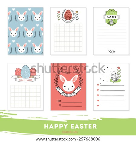 Set of 6 creative easter cards. For journaling, scrapbooking and design. - stock vector