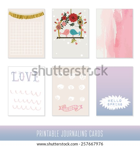 Set of 6 creative journaling cards. Hand Drawn textures made with ink and watercolor. Love and spring set. - stock vector
