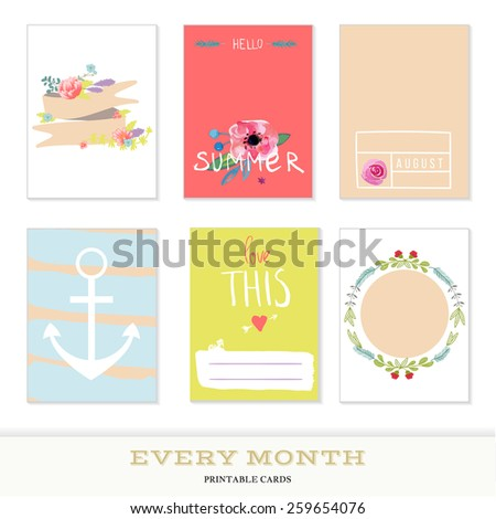 Set of 6 creative journaling cards. Hand Drawn textures made with ink. Every Month Collection - August - stock vector
