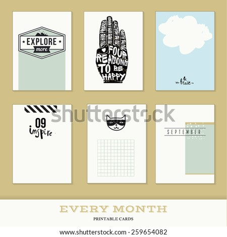 Set of 6 creative journaling cards. Hand Drawn textures made with ink. Every Month Collection - September - stock vector