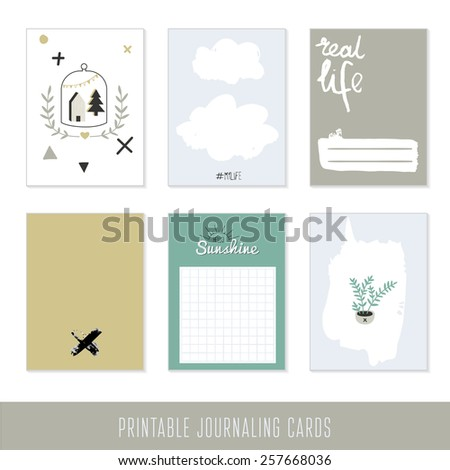 Set of 6 creative journaling cards with succulents and hand drawn textures - stock vector