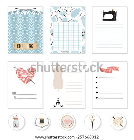 Set of 6 creative sewing cards. For journaling, scrapbooking and design. - stock vector