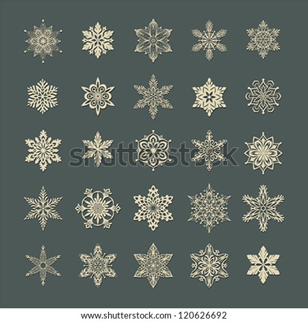 Set of creative snowflakes silhouettes with shadows. - stock vector