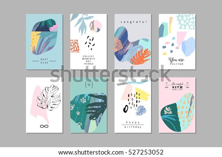 Set of creative universal floral art posters in tropical style. Hand Drawn textures. Wedding, anniversary, birthday, Valentin's day, party invitations.