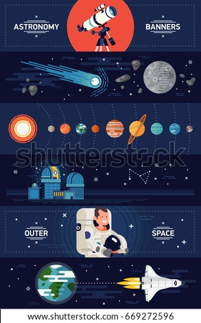 Set of creative vector horizontal web banners templates on astronomy and space exploration with planets, comet, moon, telescope, astronaut, observatory, spacecraft shuttle and more