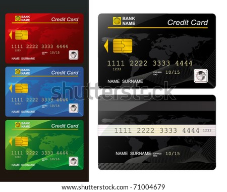 Set of Credit card. - stock vector