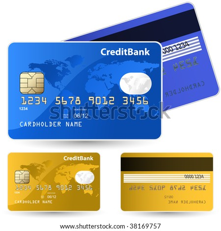 Set of credit cards. Highly detailed vector - stock vector