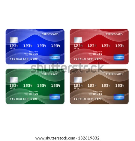 Set of credit cards in 4 different colors - stock vector