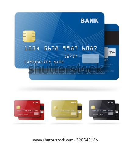 Set of credit cards isolated on white background. Vector illustration