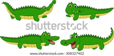 set of crocodile cartoon - stock vector