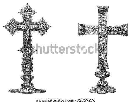 Set of crosses / vintage illustration from Meyers Konversations-Lexikon 1897 - stock vector